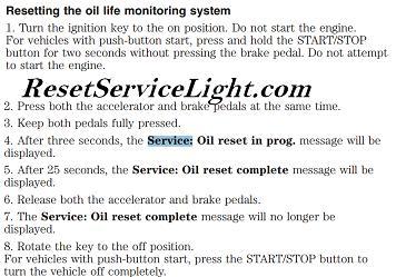 Reset Oil Service Light Ford Focus Reset Service Light Reset Oil
