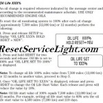Reset oil service light Ford Fusion