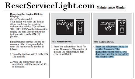 Reset oil service light honda pilot reset service light for Honda maintenance minder codes