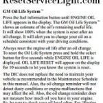 Reset oil service light Hummer H2