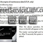 Reset oil service light Lexus GS 350 manual 2008-2012