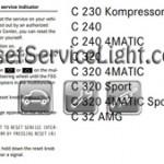 Reset oil service light Mercedes C Class 2003