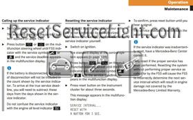 Reset service light indicator Mercedes W220 S CLass – Reset service