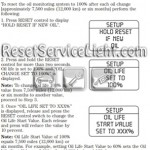 Reset oil service light Mercury Mountaineer manual 2008-2010