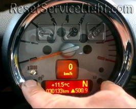 Reset service light indicator Mini Cabriolet R57