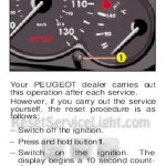 Reset service light indicator Peugeot 206