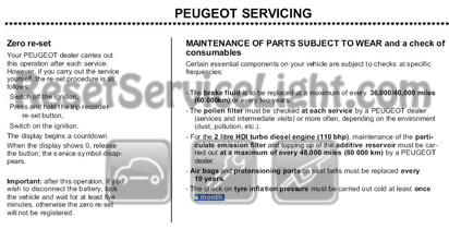 Reset service light indicator Peugeot 307 – Reset service