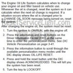Reset oil service light Pontiac Solstice GPX manual 2007-2009