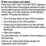 Reset key not accepted message Saab 9-3