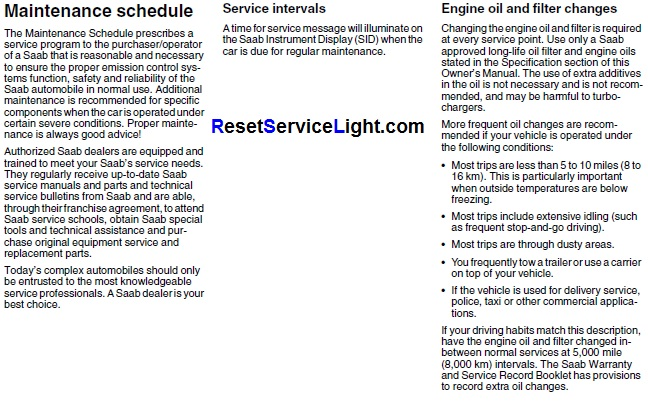 Reset oil service light Saab 9-5