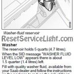 Reset washer fluid low message Saab 9-3