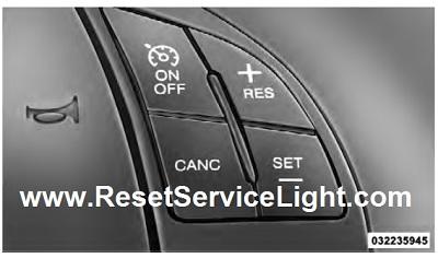 Reset the desired vehicle set speed Fiat 500