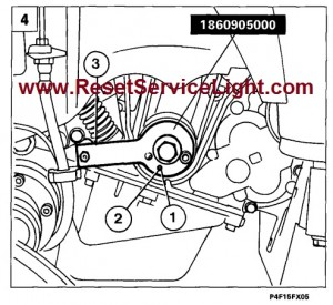 Fit the belt and position tool 1860905000 on the crankshaft gear and pin