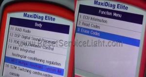Steps to erase SRS airbag indicator Skoda Octavia Mk1