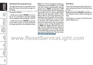 Reset service warning light Fiat Panda