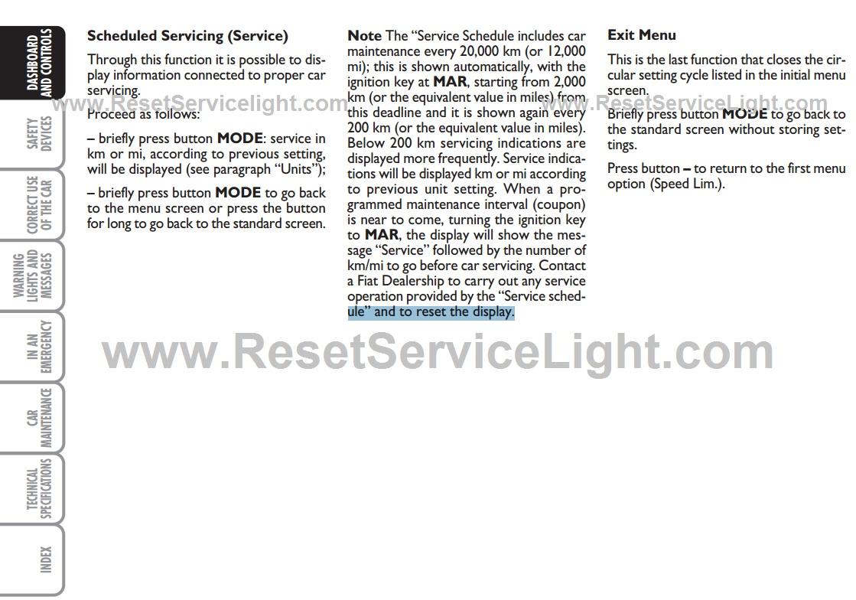 Reset service warning light fiat panda