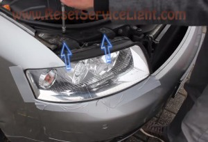 How to change the burned headlight bulb on a Audi A4 B6
