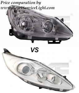 Headlight comparation Vauxhall Corsa D and Ford Fiesta 6