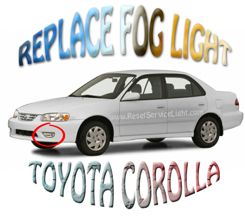 Replace front bumer fog light assembly Toyota Corolla 2002