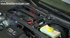 remove the cables of the battery on Audi A4 2007