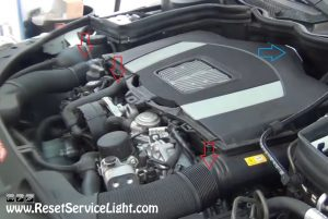 remove-the-air-intake-hoses-and-engine-cover-on-mercedes-benz-c300