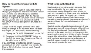 Reset oil service light Chevrolet Impala, 2006-2012