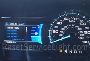 Ford Flex oil life reset set to 100