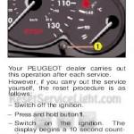 Reset service light indicator Peugeot 206
