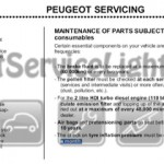 Reset service light indicator Peugeot 307 manual