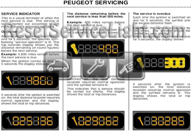Reset wrench service light indicator Peugeot 2A/C 206