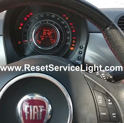 Reset maintenance oil service light Fiat 500