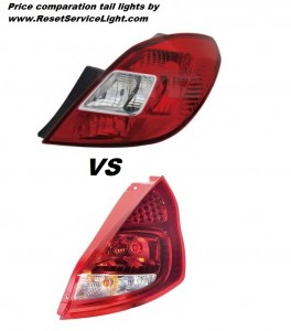 Tail lights price comparation Vauxhall Corsa D and Ford Fiesta VI