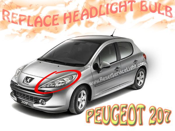 DIY change the headlight bulb on Peugeot 207