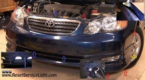 remove-the-fastners-of-the-front-bumper-on-Toyota