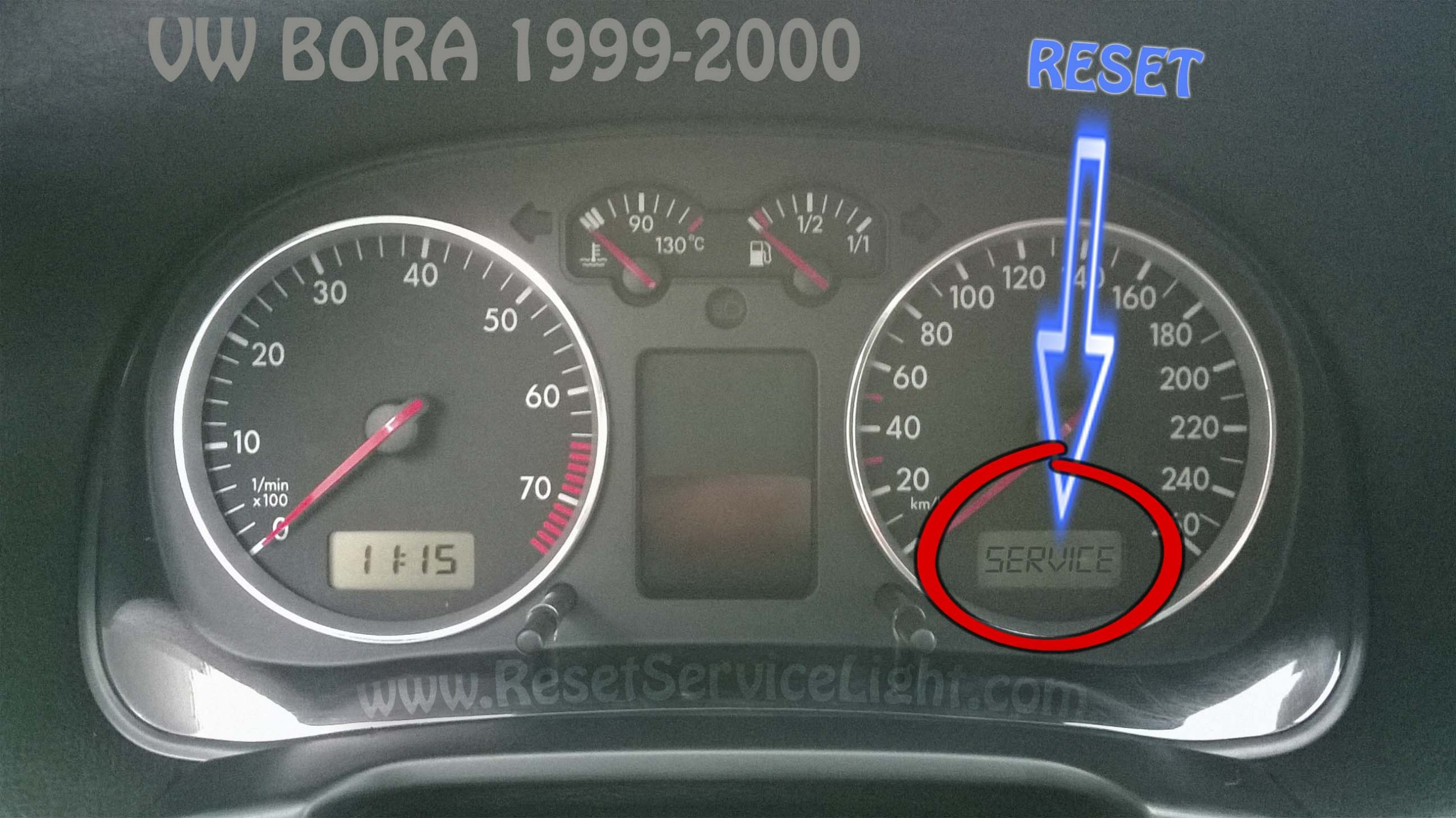 VW Bora 1999-2000 reset service light